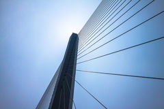 Fragment of a cable stayed bridge. Royalty Free Stock Image