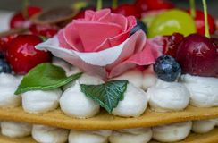 A fragment of a cake made of cakes with a layer of cream decorated with fruit in gel and a rose flower of sugar mastic royalty free stock image