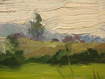 A fragment of the canvas with oil paints. Stock Photo