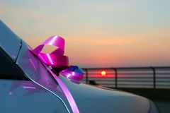 Fragment of the car decorated to wedding. Stock Photo