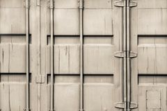 Fragment cargo iron container of beige color Stock Images
