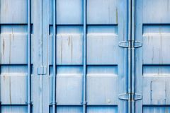 Fragment cargo iron container of blue color Royalty Free Stock Images