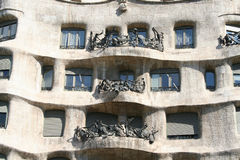 Fragment of Casa Mila (la Perdrera) front by Gaudi. Royalty Free Stock Photos