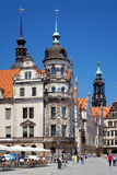 Fragment of Castle and Tower of Church in Dresden Royalty Free Stock Photos