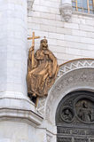 A fragment of the Cathedral of Christ the Savior. Bronze sculptu Stock Photos