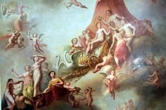 Fragment of ceiling painting. Fragment of the ceiling painting of the 18th century  in the royal pavilion Stock Images
