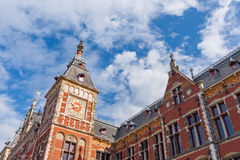 Fragment of cental train station in Amsterdam. Royalty Free Stock Photography