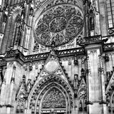 Prague, Czech Republic, January 2015. Fragment of the central facade of the St. Vitus Cathedral in black and white. royalty free stock photography
