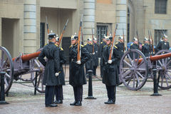 Fragment of a ceremony of a divorce of guard of honor at the royal palace. Stockholm, Sweden Stock Photography
