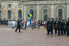 A fragment of a ceremony of a divorce of guard of honor at walls of the royal palace. Stockholm Royalty Free Stock Image