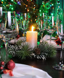 Fragment of the Christmas table decoration Royalty Free Stock Photos