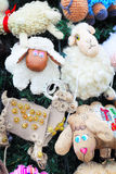 Fragment of christmas tree decorated with toys Stock Photo