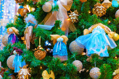 Fragment of the Christmas tree decoration Royalty Free Stock Photos