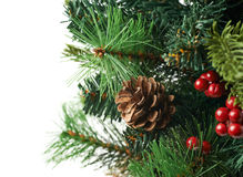 Fragment of a Christmas tree isolated Royalty Free Stock Photos