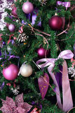 Fragment of a Christmas tree. In lilac-purple tones Stock Image