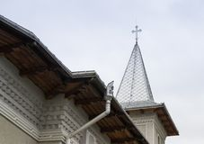 Fragment of the Church of the Archangels Michael and Gavriil in the Fagaras city in Romania stock photography
