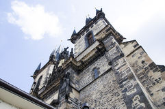 Fragment of Church in Prague. Church of Our Lady Before Tyn. Fragment of a church with two towers in Old Town square, Prague Stock Photos