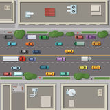 Fragment of city map with roofs, roads and cars on it. Top view vector illustration royalty free illustration
