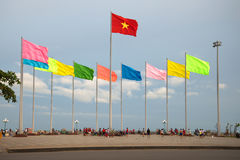 Fragment of the city`s waterfront with the national state flag of Vietnam. VUNG TAU, VIETNAM - DECEMBER 21, 2015: Fragment of the city`s waterfront with the royalty free stock image