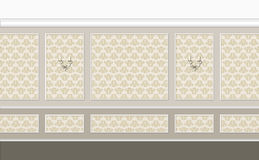 Golden classic interior. Fragment of classic interior in beige color with golden elements Vector Illustration
