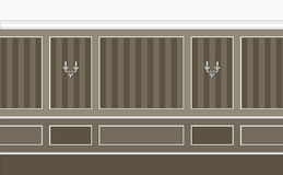 Brown classic interior. Fragment of classic interior in brown and grey pastel colors Vector Illustration