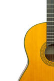 Fragment of classical guitar on a white background isolate, cop Stock Photos