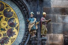 Fragment of Clock in Prague Stock Photography
