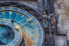 Fragment of Clock in Prague Stock Photo