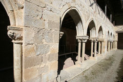 Fragment of the cloister of Flaran. Royalty Free Stock Images