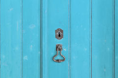 Fragment of closed old wooden gate Stock Photography