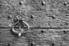 Fragment closeup of an old wooden door or gate Stock Images