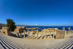 Fragment of the colonnade and the staircase in the ancient city of Lindos Stock Images