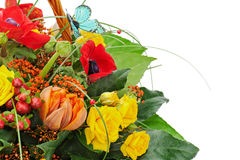 Fragment of colorful bouquet isolated on white background. Stock Photo