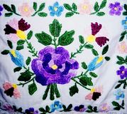 Fragment of colorful slovak embroidery royalty free stock photo