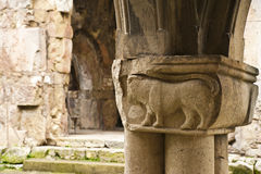 Fragment of a column. Fragment of an old column in an ancient church in Georgia royalty free stock image