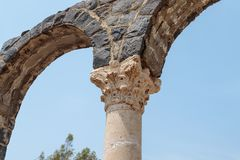 Fragment of a column in ruins of Kursi - a large Byzantine 8th-century monastery on the shores of Lake Tiberias, on the Golan Heig. Hts Stock Images