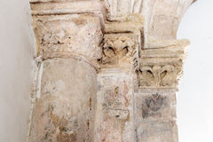 Fragment of the column with the stamp of the architect in the Room of the Last  Supper in Jerusalem, Israel. Royalty Free Stock Image