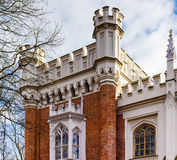 A fragment of a complex of buildings Imperial stables. Peterhof. Tower of the building Imperial Stables (1855, architect Benoit). The Palace and Park Ensemble Stock Image