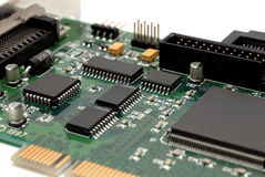 Fragment of a computer printed-circuit-board Stock Photography
