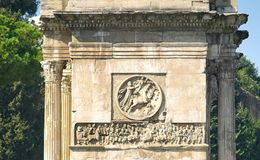 Fragment Constantine arch decor. Bas-reliefs and sculptures on the triumphal arch of the Constantine emperor in Rome Royalty Free Stock Image