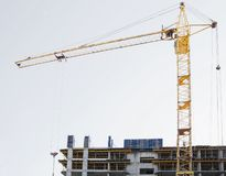 Construction work and high rise crane building royalty free stock images