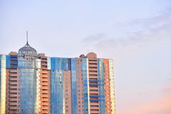 Fragment of contemporary buildings at sunset. Stock Photo
