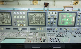 Fragment of Control panel nuclear-powered icebreaker Stock Image