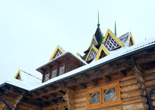 Fragment of country wooden house Royalty Free Stock Photos