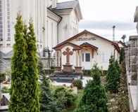 Fragment of the courtyard of Orthodox Church of the Holy Emperors Constantine and Helena on Alexandru Odobescu Street in the Braso. V city in Romania Royalty Free Stock Images