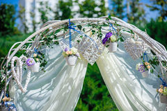 Fragment of creatively decorated wedding arch Royalty Free Stock Photos