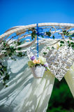 Fragment of creatively decorated wedding arch Stock Image