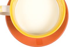 Fragment of cup of milk on white background. Fragment of cup of milk idolated on white background Stock Image