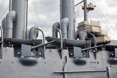 Fragment d'un vieux bateau militaire de vapeur du fin du 19ème siècle Photographie stock libre de droits