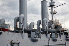Fragment d'un vieux bateau militaire de vapeur du fin du 19ème siècle Photo libre de droits